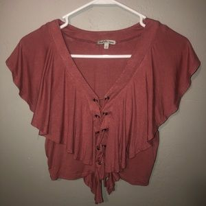 Ruffle top, with lace up